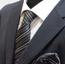 Men's Tie & Handkerchief Set Black shades with White Stripe LUC63