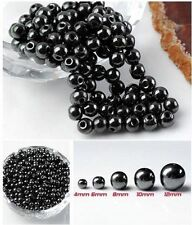 Charm 100pc Round Black Magnetic Hematite Spacer Beads 4mm