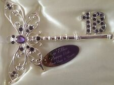 Personalised 18th Birthday Lilac Butterfly Key Keepsake Gift BOTH SIDES ENGRAVED