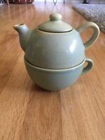 Pier 1 Teapot 3pc Stoneware Mug Tea Pot