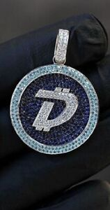Amazing DigiByte With Blue Sapphire, Aquamarine & White CZ Men's Hip-Hop Pendant