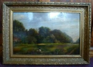 Victorian Antique Heavy Gold framed Oil Painting Countryside Fishing Warsoe 1875