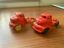 Lot of 2 Banner #7 & 4 Red Plastic Toy Truck Cab Unmarked