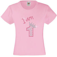 Numbered Birthday T Shirts for Girls,  Embellished with Rhinestones / Diamanté