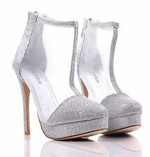 Silver Glitter Dress High Heels Booties Sandal Womens Stiletto Shoes Size 7