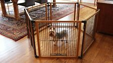 Pet Gate For Dogs Dog Puppy Pen Play Yard Folds Folding Wide Secure Safety
