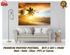More details for tropical beach sea sunset palm tree large poster art print gift a0 a1 a2 a3 maxi