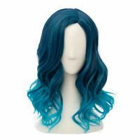 Lolita Mixed Blue Ombre Curly Ladies Harajuku Cosplay Wig + Cap Heat Resistant