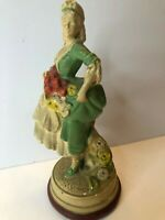 "Columbia Statuary Chalkware Statue 9"" Female Countess Dignitary Vtg Figurine"