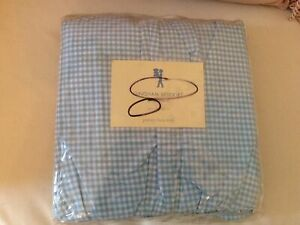 Pottery Barn Kids  Blue Gingham Queen Bedskirt 100 Cotton bedding boys girls
