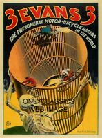 1933 WALL OF DEATH MOTORCYCLE DAREDEVIL MOTOR BICYCLE 8.5X11 POSTER ART GRAPHICS