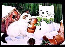 Adorable Kitten Cat Kitty Snowman Pots Birdhouse - Christmas Greeting Card - NEW