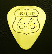 ROUTE 66 - Solid Brass Guitar Pick, Acoustic, Electric, Bass