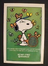 1990 Peanuts Snoopy~Joe Cool~Met Life Schulz Comic Tennis Memorabilia 8 x 11 Ad