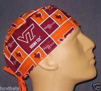 VIRGINIA TECH UNIVERSITY SQUARES SCRUB HAT / FREE CUSTOM SIZING IF NEEDED