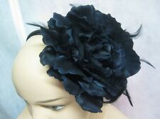 "New Large Black 5"" Flower Headband With Feathers NWT From Target #H2008"