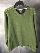 EXOFFICIO Men's Polyester Wool Blend V Neck Sweater SZ Medium Unique Metal Plate