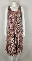 SUNDANCE Women's Dress Ruffled 100% Silk Floral 12 Lined Sleeveless Brown Multi