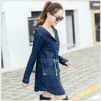 2019 Women Casual Long Sleeve Denim Jacket Long Jean Coat Outwear Overcoat