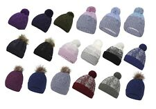 Ladies Girls Waterproof Windproof Winter Chunky KnitPomPom Thinsulate Beanie hat