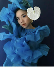 H&M STUDIO AW2020 Blue Voluminous Flounced Blouse Shirt Top