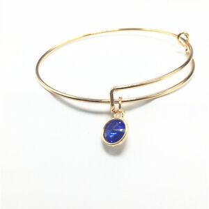 Popular Gold Tone Expandable Wire Blue Charm With Pendant Bracelet Bangle