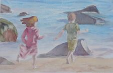 Beach Joy Original Watercolor Painting~ RAMfish Artist Newport CA