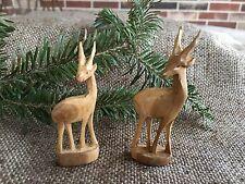 Pair of Vintage Folk Art Hand Carved Wooden Wood Deer,Nativity, Easter Animal