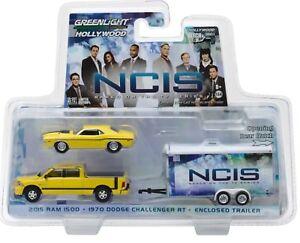 1:64 GreenLight *HITCH & TOW* NCIS 2015 Dodge Ram 1970 Challenger & Trailer NIP