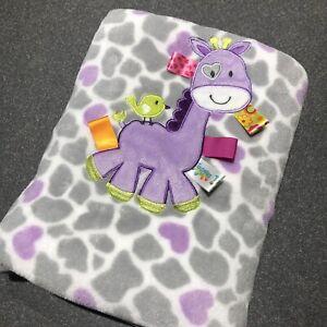 "Taggies Giraffe Baby Blanket Gray Purple Ribbon Tags 30x40"""