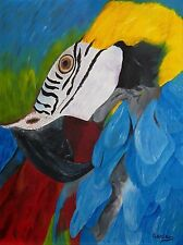"""Macaw Parrot Oil Painting, Bird Painting, Macaw (18"""" X 24"""")"""
