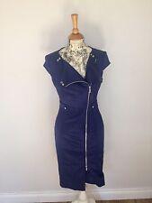 Beautiful KAREN MILLEN Blue Satin Zip Shirt Dress. Wedding, Races, Size 10