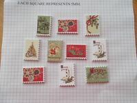 10 CHRISTMAS PATTERN STAMP Shaped Wooden Buttons Scrap book Crafts Sewing