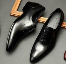 Mens Pointy Toe Real Leather Dress Formal Business Wedding Shoes Oxfords Lace Up