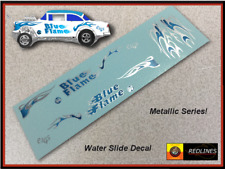1/64 '55 Chevy Blue Flame' CUSTOM SILVER Metallic Decal SCR-0053M