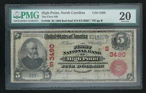 $5 High Point North Carolina C 1902 Red Seal 3490 20 First National Bank Note