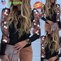 Women's Puff Long Sleeve Sheer Mesh Floral Tops Ladies Casual Loose Blouse Shirt