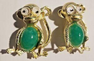 2 Monkey Vintage Costume Jewelry Pins Broach Gold Tone W/Green Belly, GooglyEyes