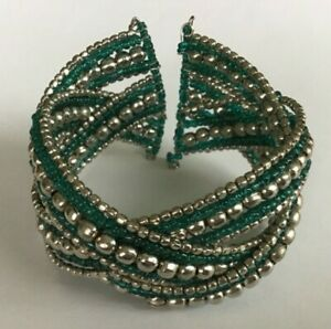 Artisan Chunky Braided Silver and Green Bead Open End Flexible Cuff Bracelet A5