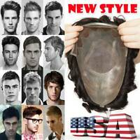 Invisible Mens Toupee Hair Replacement System Human Hairpiece MONO Straight/wavy