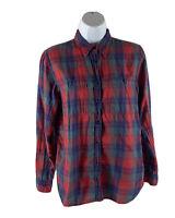 Denim & Supply Ralph Lauren Women's Medium M Red Blue Plaid Button-Up Shirt