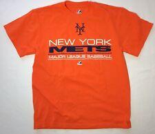 New York Mets Mens Medium MLB Baseball Majestic T-Shirt Orange Blue E