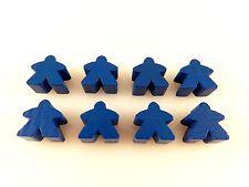 Carcassonne Replacement / Expansion Wooden Follower Meeple Token Set 8pc Blue