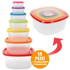 Set Contenitori 7 pezzi x Alimenti Impilabili Frigo Freezer Micronde + 7Coperchi