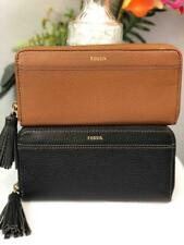 """NWT FOSSIL """"Tara"""" Large Continental Zip Around Wallet in Black or Brown Leather"""