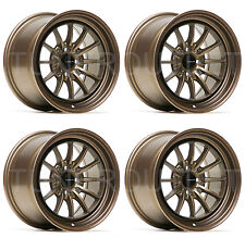 "ULTRALITE UL12 15"" x 8.25J ET20 4x100 4x114.3 BRONZE ALLOY WHEELS SET OF 4 Y3170"