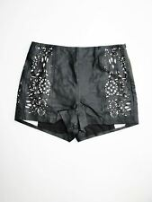 NEW Topshop Leather Shorts Laser Cut Lace Panel High Rise High Waist 4 $160 NWT