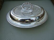 ANTIQUE SILVER PLATED OVAL ENTREE DISH  WITH LID.....RECENTLY REPLATED