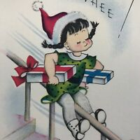 Vintage Mid Century Christmas Greeting Card FRONT ONLY Girl Sliding Off Banister