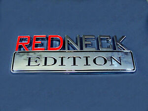 "Jeep ""REDNECK EDITION"" Chrome Decal Logo Badge Sticker Door Bumper Emblem"